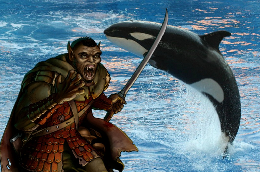 Orcs and Orcas derive from the same root word as ogres, which were tought to be from Hades where Orcus reigned.