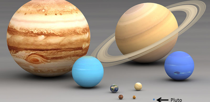 Comparing planet sizes. All are to scale.