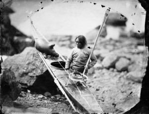 Inuit man with a kayak in 1854