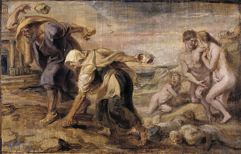 Painting of Deucalion and Pyrrha by Peter Paul Rubens in 1636