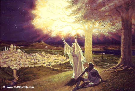 Varda and Manwë in Valinor. Varda was the Vala who put the stars in the sky.
